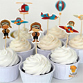 Airplane Paper Cupcake Picks 24pcs