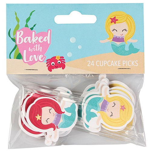 Baked with Love Mermaid Cupcake Picks 24pcs