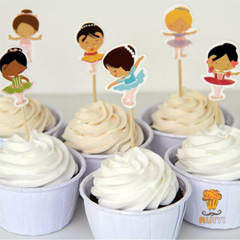 Ballerina Paper Cupcake Picks 24pcs