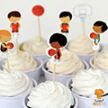 Basketball Paper Cupcake Picks 24pcs