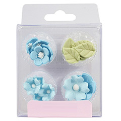 Blue Flowers & Leaves Edible Cupcake Toppers