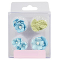 Blue Flowers & Leaves Edible Cupcake Toppers 16pcs