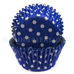 Blue Polka Dot Mini Baking Cups