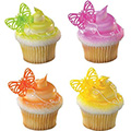 Bright Butterflies Cupcake Rings 12pcs