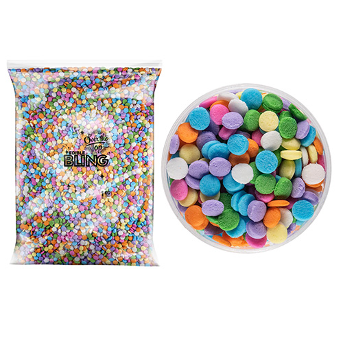 BULK Rainbow Sequins Sprinkles 4mm 1kg