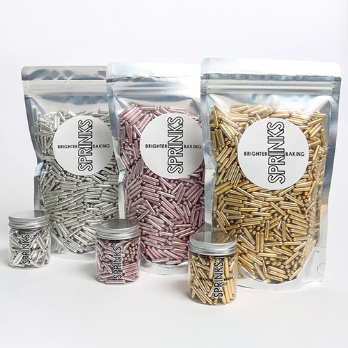 BULK Sprinks Metallic Pink Rods Sprinkles 500g