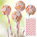 Candy Stripe Pink Cake Pop Sticks 25pcs