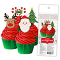 Christmas Edible Wafer Cupcake Toppers 16pcs