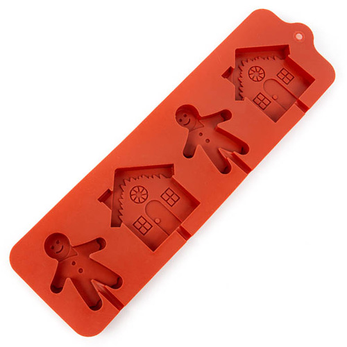 Christmas Gingerbread Man & House Silicone Mould