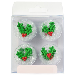 Christmas Holly and Berries Edible Cupcake Toppers
