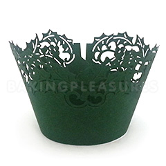 Christmas Holly Green Lace Cupcake Wrappers