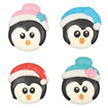 Christmas Penguins Edible Cupcake Toppers 12pcs