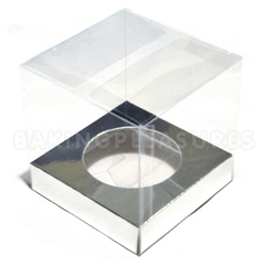 Clear Cupcake Boxes with Silver Insert