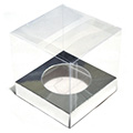 Clear Cupcake Boxes w Silver Insert 6pcs
