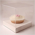 Clear Cupcake Boxes w White Insert 6pcs