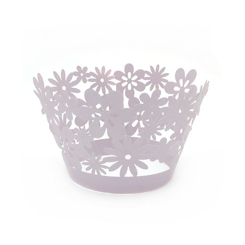Daisy Pearl Light Purple Lace Cupcake Wrappers