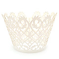 Filigree Pearl Antique White Lace Cupcake Wrappers 12pcs