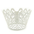 Filigree Pearl Light Silver Lace Cupcake Wrappers 12pcs