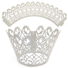 Filigree Pearl Silver Lace Cupcake Wrappers