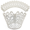 Filigree Pearl Silver Lace Cupcake Wrappers 12pcs
