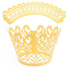 Filigree Pearl Yellow Gold Lace Cupcake Wrappers