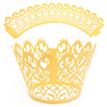 Filigree Pearl Yellow Gold Lace Cupcake Wrappers 12pcs