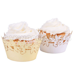 Flora White/Ivory Reversible Cupcake Wrappers