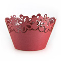 Flower Pearl Red Lace Cupcake Wrappers 12pcs