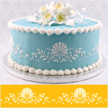 Formal Scallop Shell Side Cake Stencil
