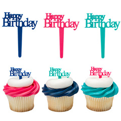 Happy Birthday Script Cupcake Picks