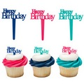 Happy Birthday Script Cupcake Picks 12pcs