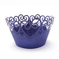 Heart Pearl Purplish Blue Lace Cupcake Wrappers 12pcs