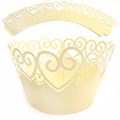 Heart Pearl Light Gold Lace Cupcake Wrappers 12pcs