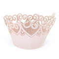 Heart Pearl Pink Lace Cupcake Wrappers 12pcs