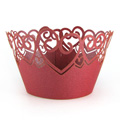 Heart Pearl Red Lace Cupcake Wrappers 12pcs