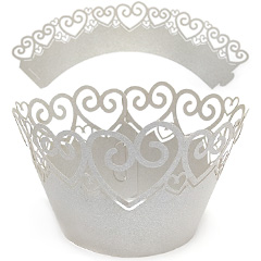 Heart Pearl Silver Lace Cupcake Wrappers