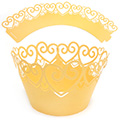 Heart Pearl Yellow Gold Lace Cupcake Wrappers 12pcs