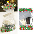 Christmas Holly Cupcake Bags w Base & Ribbon Ties 12pcs