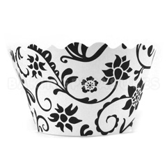 Ivy Black/White Cupcake Wrappers