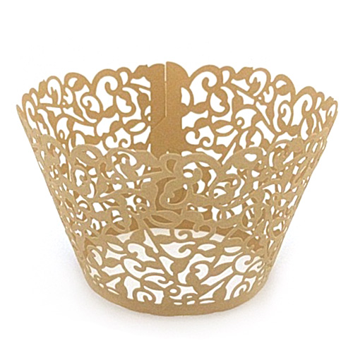 Ivy Pearl Dark Gold Lace Cupcake Wrappers 12pcs