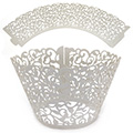 Ivy Pearl Silver Lace Cupcake Wrappers 12pcs