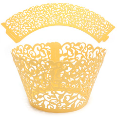 Ivy Pearl Yellow Gold Lace Cupcake Wrappers