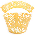 Ivy Pearl Yellow Gold Lace Cupcake Wrappers 12pcs