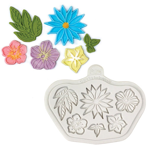 Katy Sue Stylised Flowers Silicone Mould