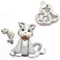 Katy Sue Sugar Buttons Cat Silicone Mould