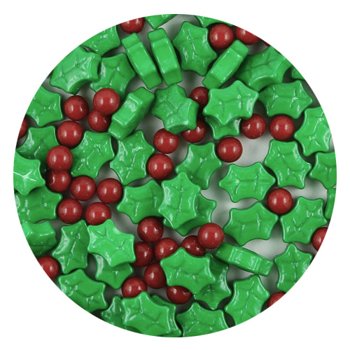 Large Christmas Holly Berries Edible Candy Sprinkles