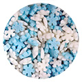 Mini Blue & White Christmas Snowflake Sprinkles 100g