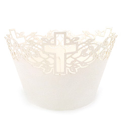 Mini Cross Pearl Antique White Lace Cupcake Wrappers