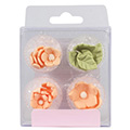 Peach Flowers & Leaves Edible Cupcake Toppers 16pcs