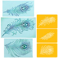 Peacock Feather Set Stencil 3pcs
